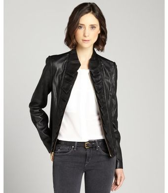 T Tahari Leather Kendrick Ruffle Front Jacket - Lyst