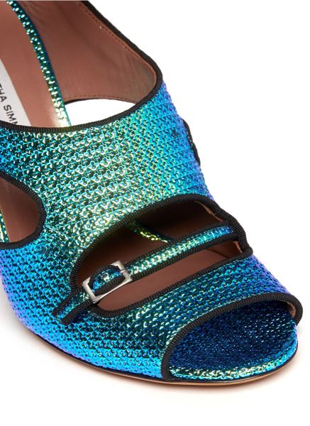 Tabitha Simmons Tic Tac Iridescent Cut Out Pumps In Blue