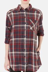 Topshop Check Print Oversized Cotton Shirt - Lyst