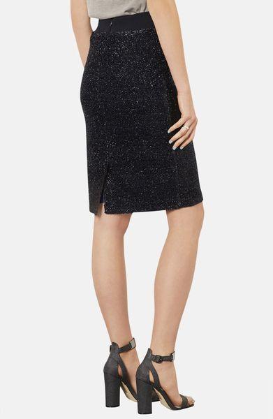 topshop metallic pencil skirt in black navy blue lyst