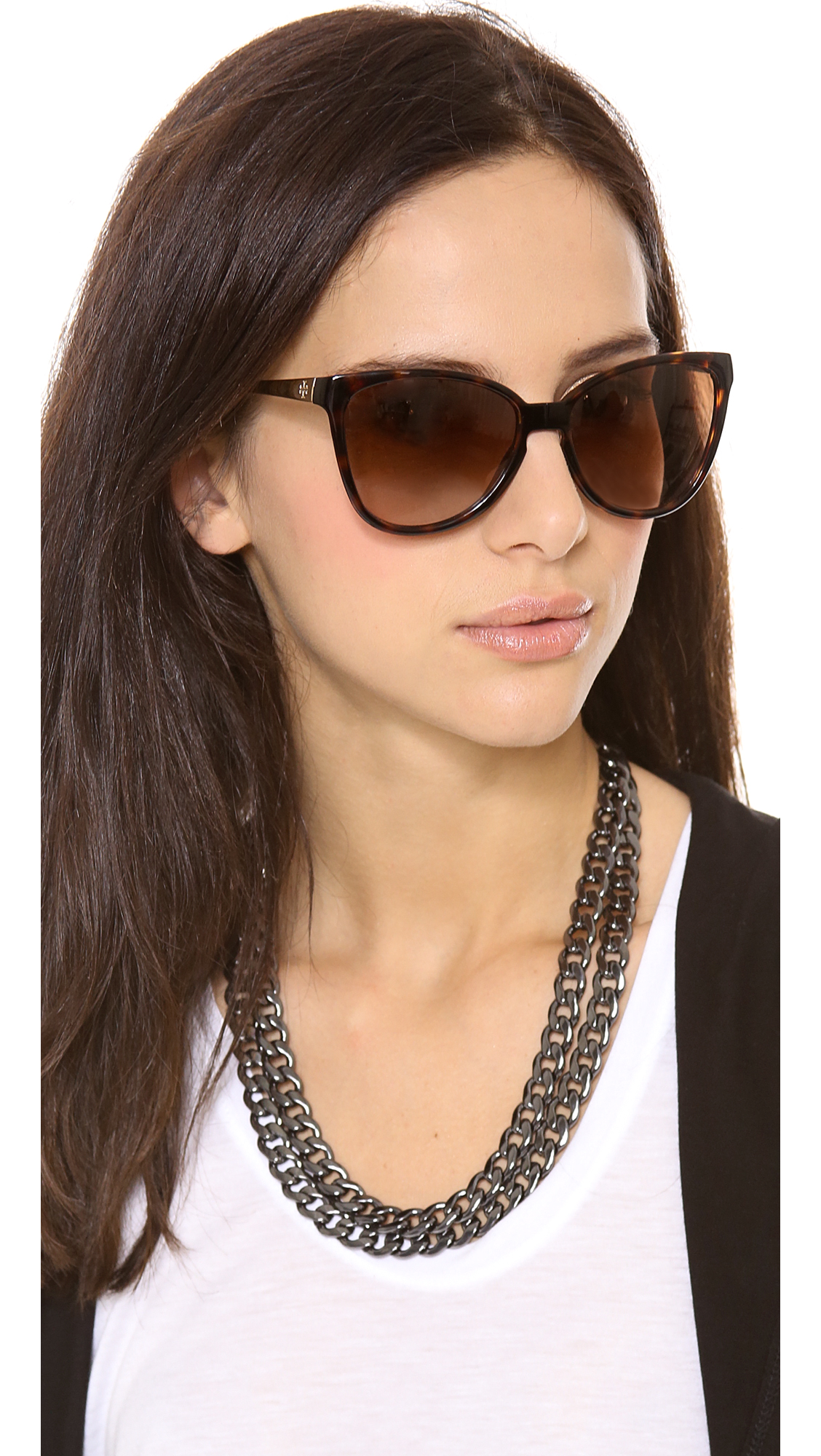 Tory Burch Modern Foldable Sunglasses In Brown Lyst