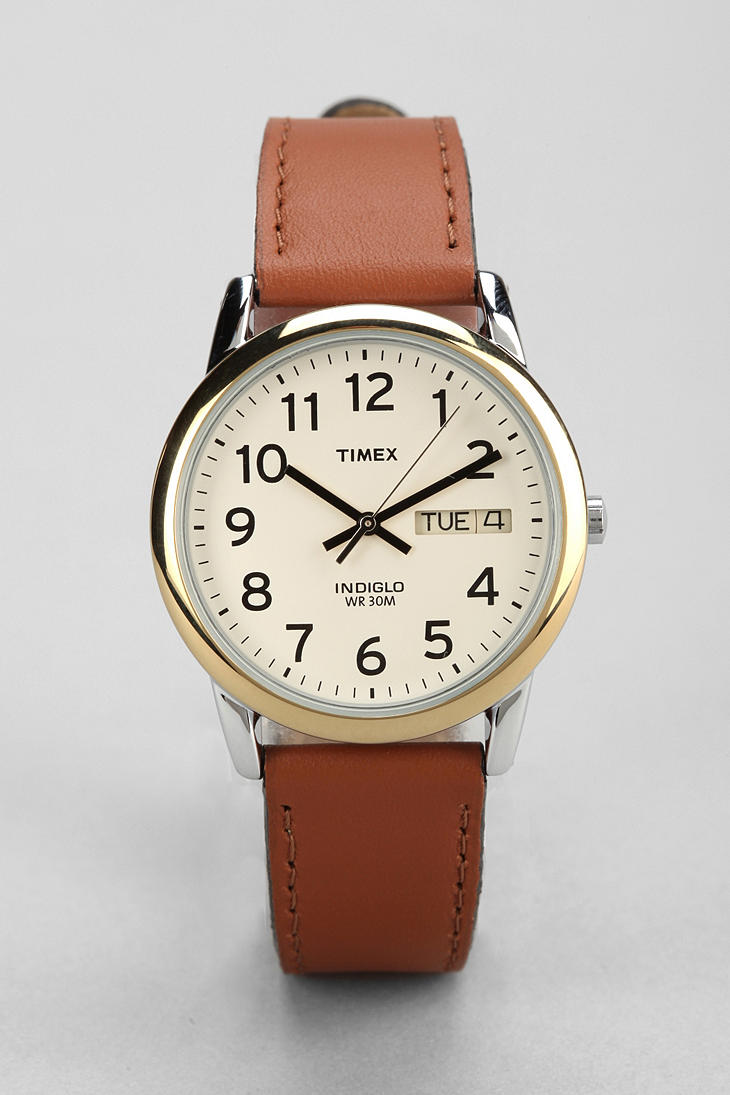 lyst timex leather easy reader watch in brown for men