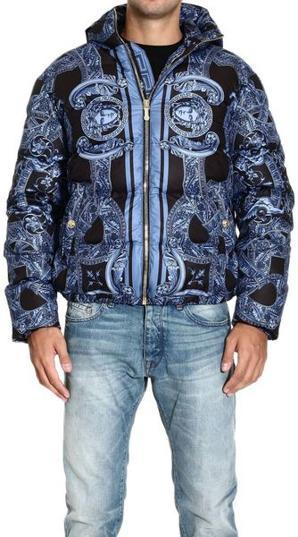 Versace Down Jacket Padded Nylon Jacket Printed - Lyst