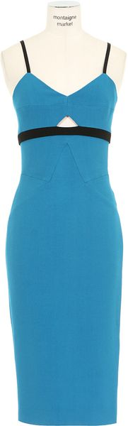 Victoria Beckham Blue Wool and Silkcrepe Sheath Dress - Lyst