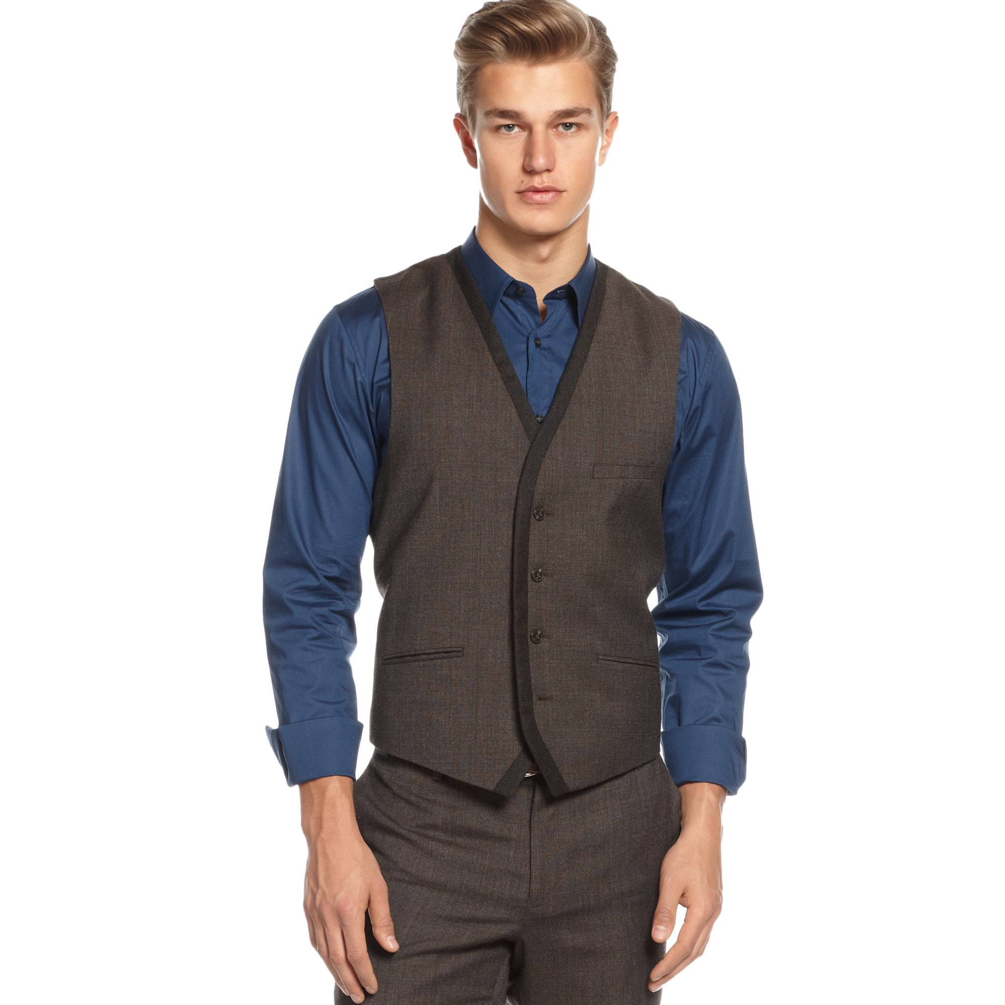 Vince camuto V Neck Wool Suit Vest in Brown for Men | Lyst