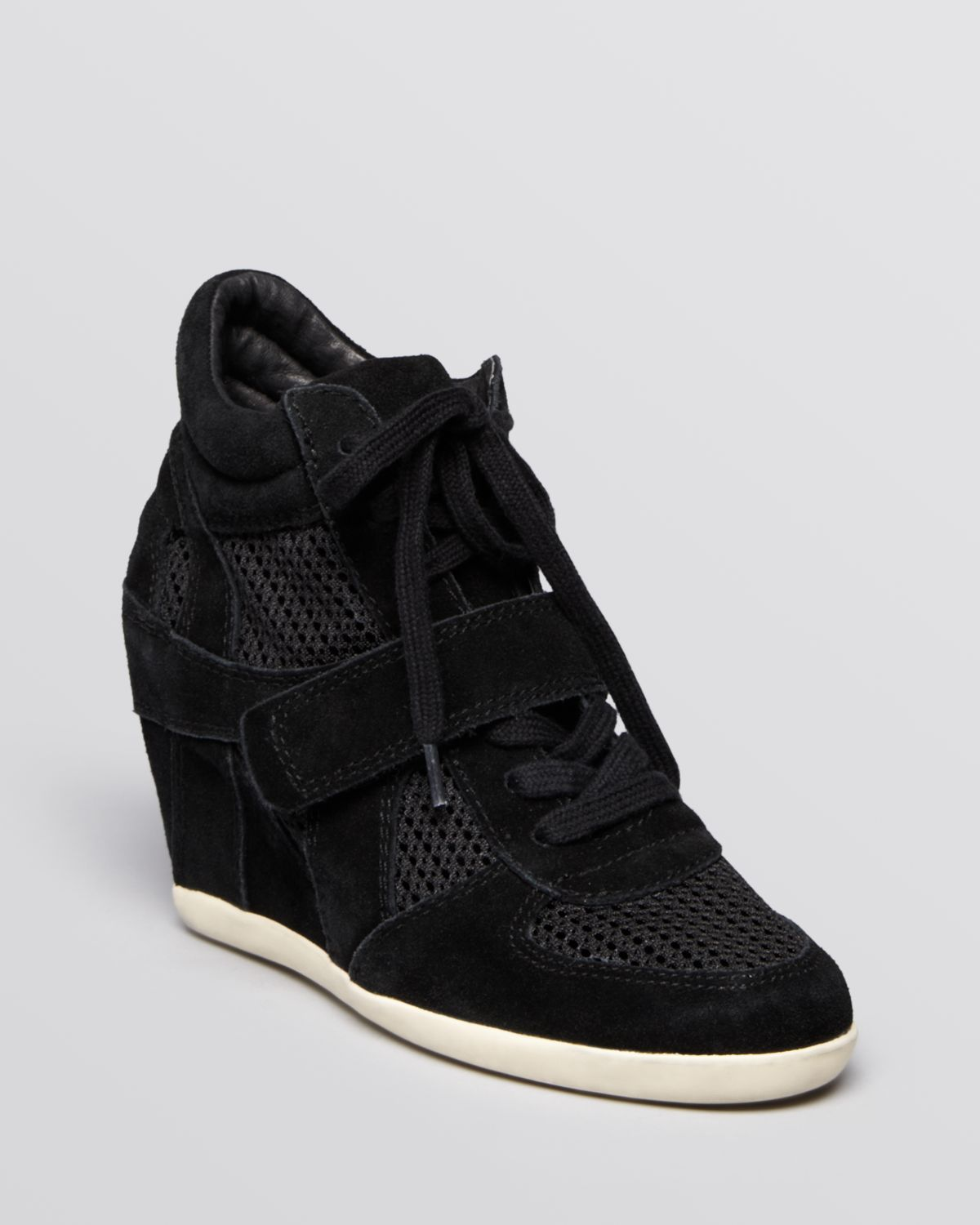 Ash Lace Up High Top Wedge Sneakers Bowie Mesh In Black Lyst