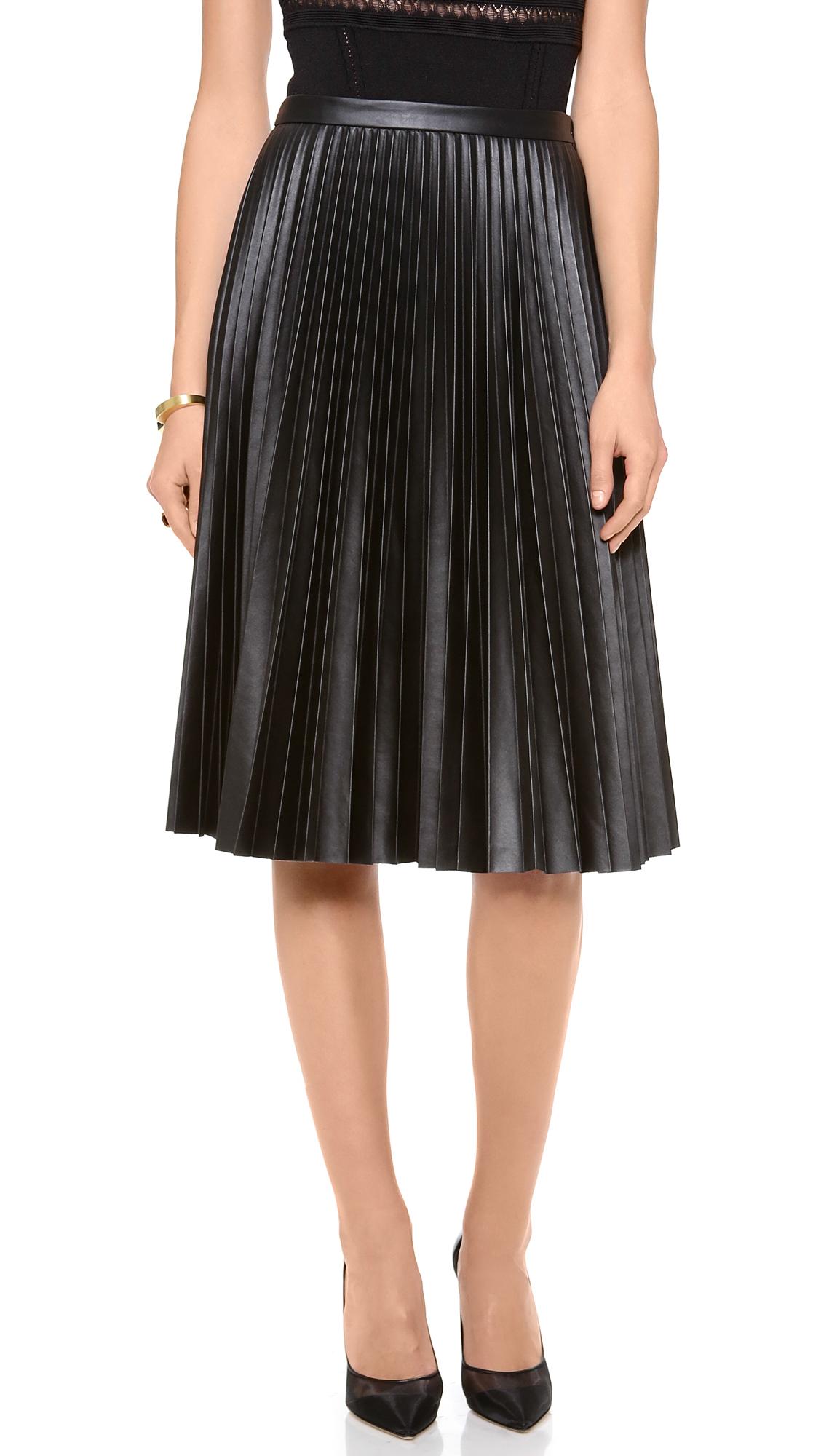 Bcbgmaxazria Pleated Skirt In Black Lyst
