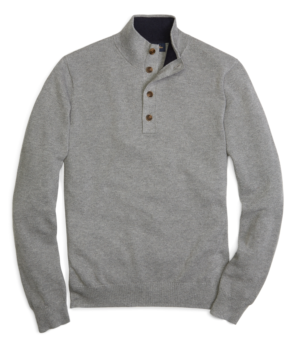 Brooks brothers Cotton Cashmere Button Mock Neck Sweater in Gray ...