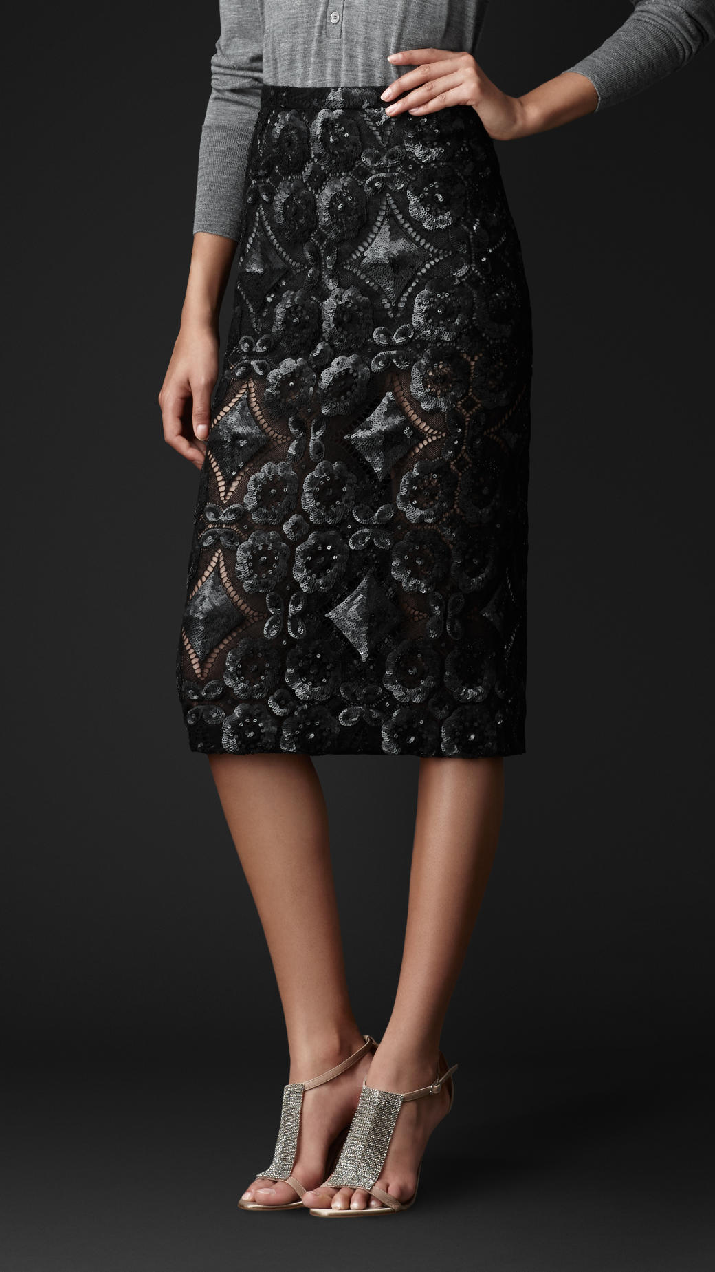 Lyst Burberry Sequin Detail English Lace Pencil Skirt In
