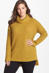 Eileen Fisher Yak Merino Turtleneck Poncho Sweater - Lyst