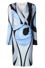 Emilio Pucci Abstract Print Wrap Dress - Lyst