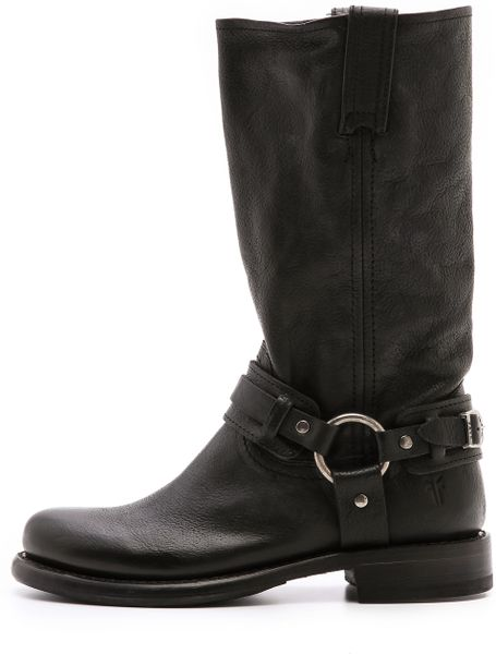 frye belted harness boots in black lyst