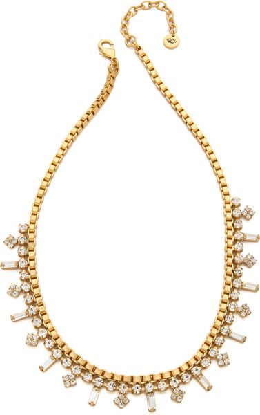 Juicy Couture Box Chain Rhinestone Necklace In Gold Lyst