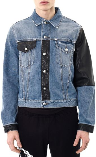 McQ by Alexander McQueen Faux Leather Panel Denim Jacket - Lyst