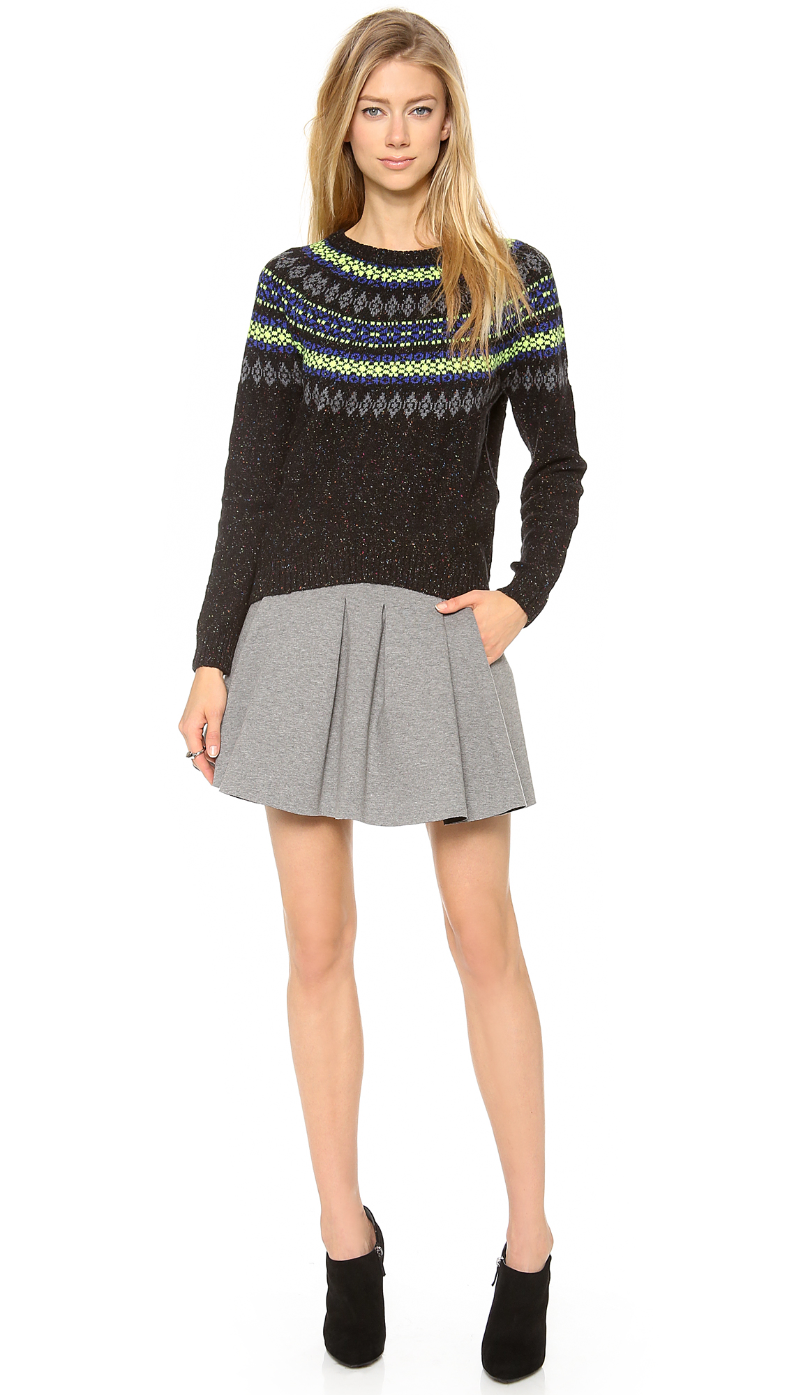 Milly Neon Fair Isle Sweater in Black | Lyst