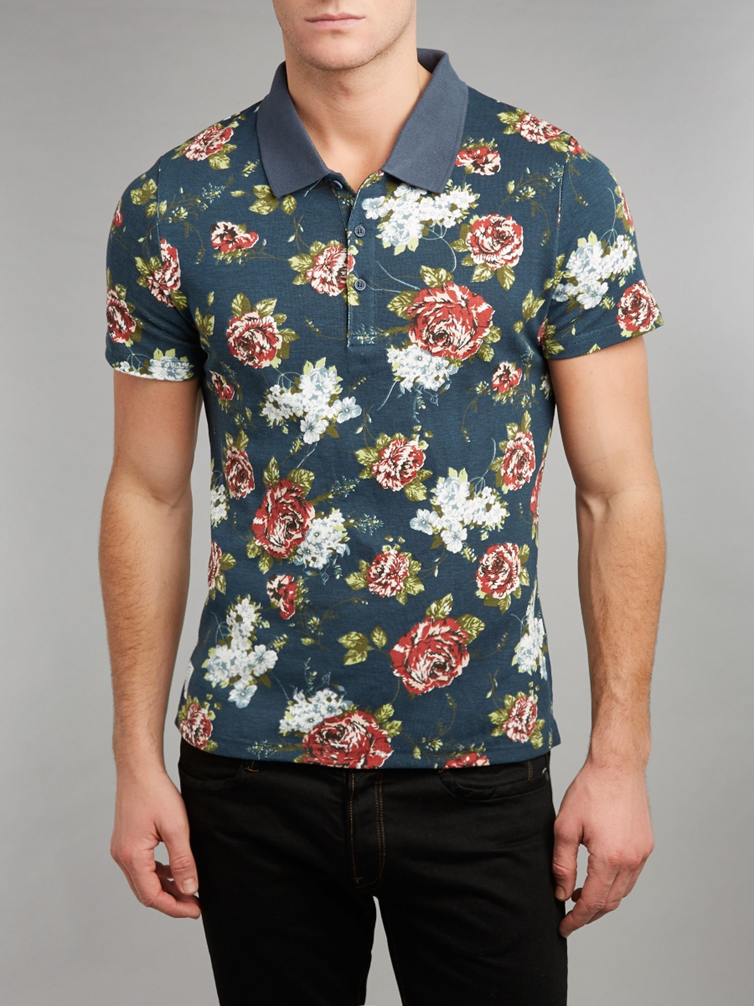 Native youth floral polo shirt in blue for men lyst for Blue floral shirt mens
