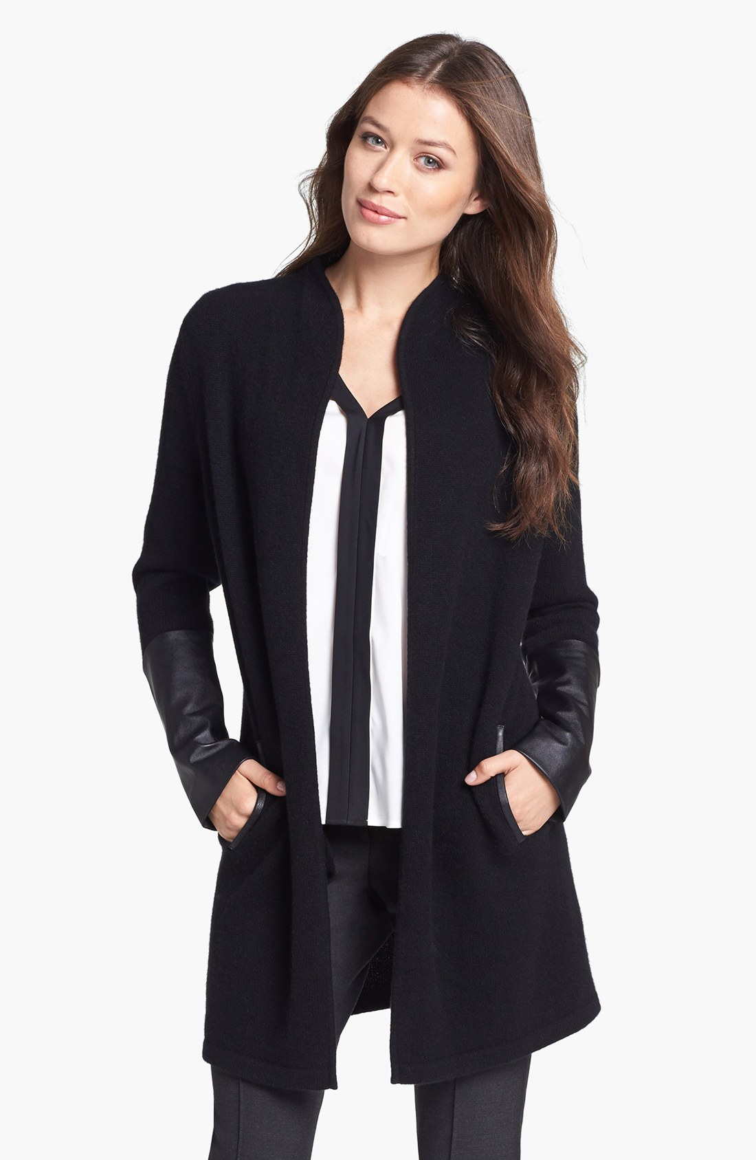 Nordstrom Collection Leather Sleeve Long Cashmere Cardigan