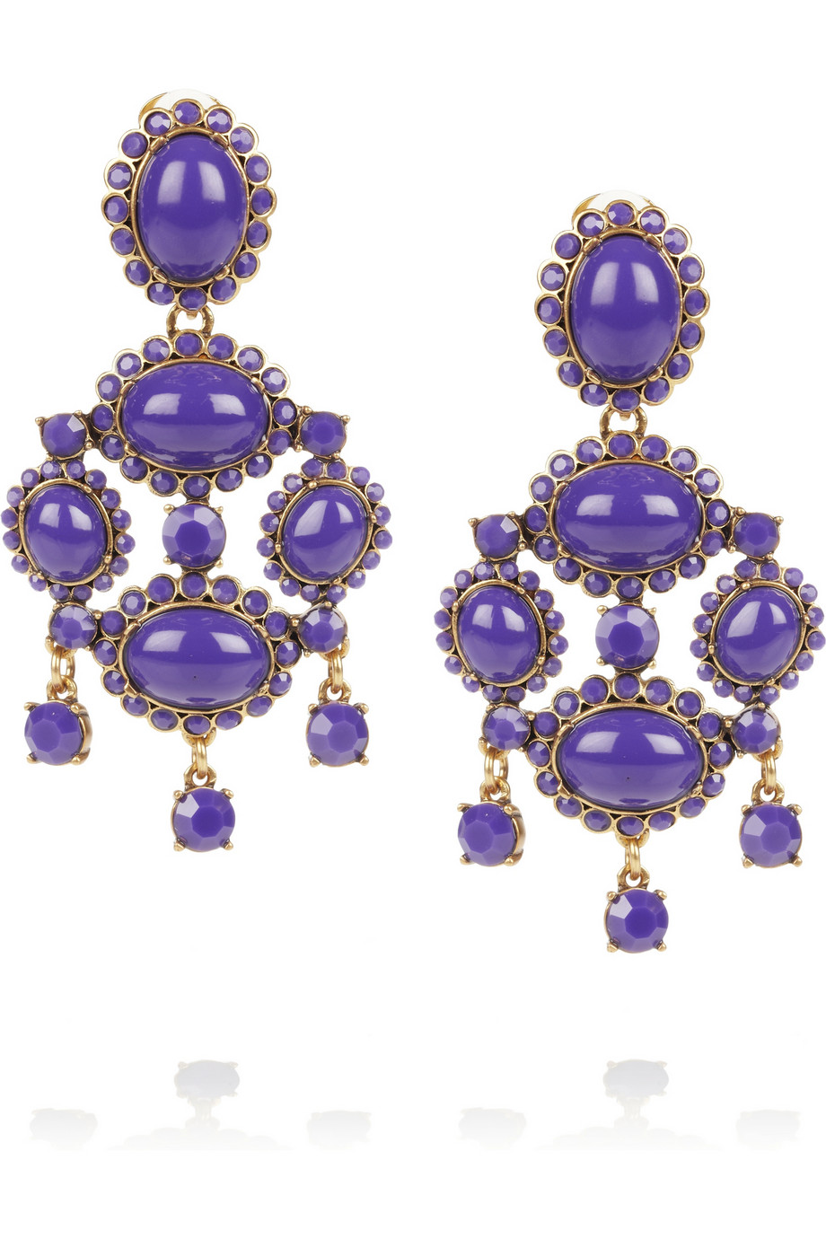 Oscar De La Renta Pear Shaped Stone Clip On Earrings In