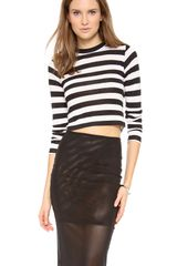 Pencey Crop Long Sleeve Stripe Tee - Lyst