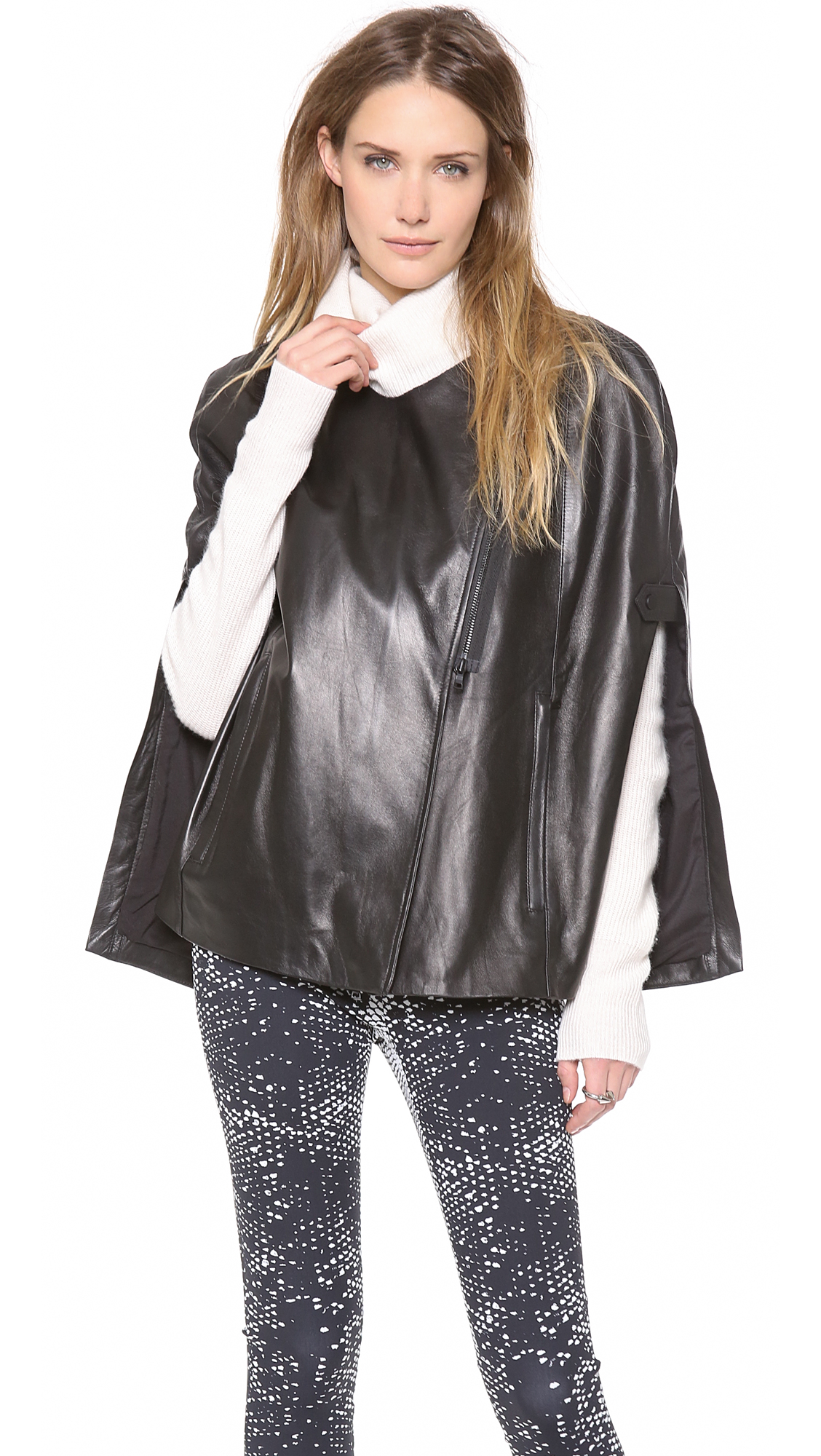 Robert Rodriguez Leather Cape In Black Lyst
