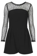 Topshop Lace Long Sleeve Playsuit - Lyst
