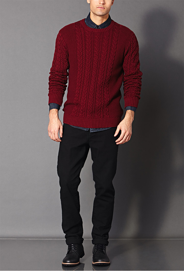 Lyst Forever 21 Chunky Cable Knit Sweater In Red For Men