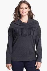 Michael by Michael Kors Fringed Cowl Neck Sweater - Lyst