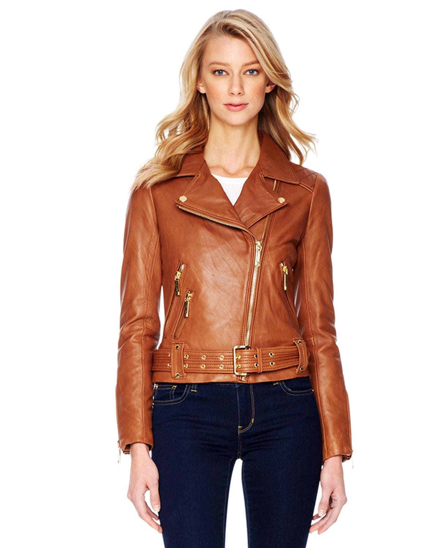 36c278af981 Michael Kors Faux Leather Moto Jacket - Cairoamani.com