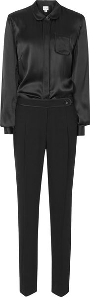 Reiss Virge Satin Shirt Jumpsuit - Lyst