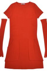 Stefanel Short Sleeve Dress with Applicable Sleeves - Lyst