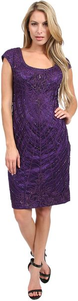 Sue Wong Seutache Embroidered Sheath Dress - Lyst