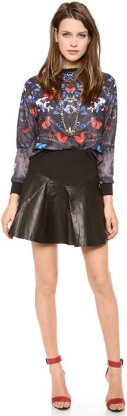 Tibi Leather Flirty Skirt - Lyst