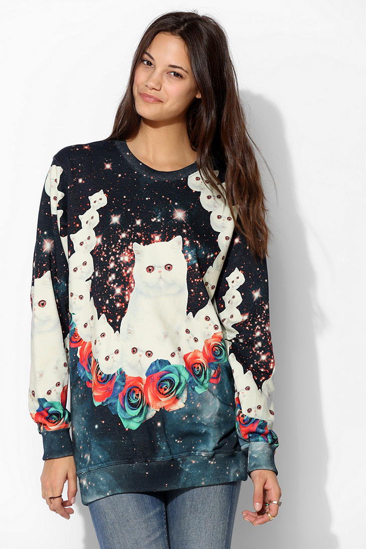 Urban outfitters aloha from deer cat pullover sweatshirt for Lucky cat shirt urban outfitters