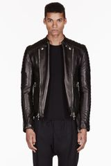 Balmain Black Ribbed Leather Biker Jacket - Lyst
