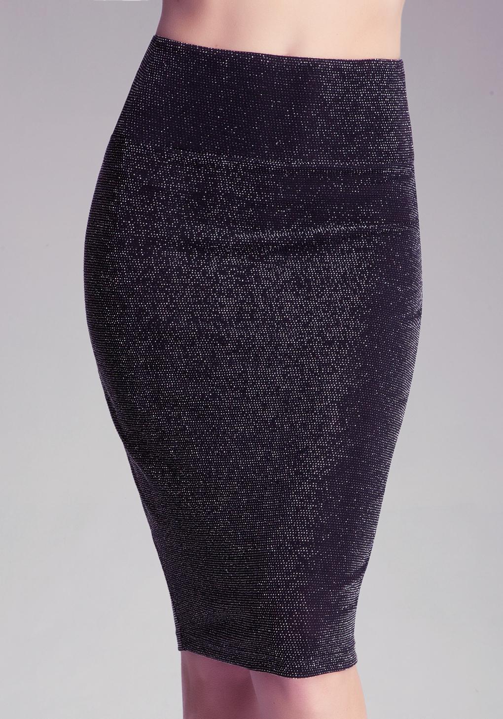 Bebe Sparkle Midi Skirt in Black | Lyst