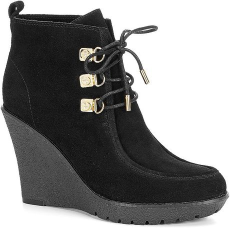 c suede wedge lace up ankle boot in brown black