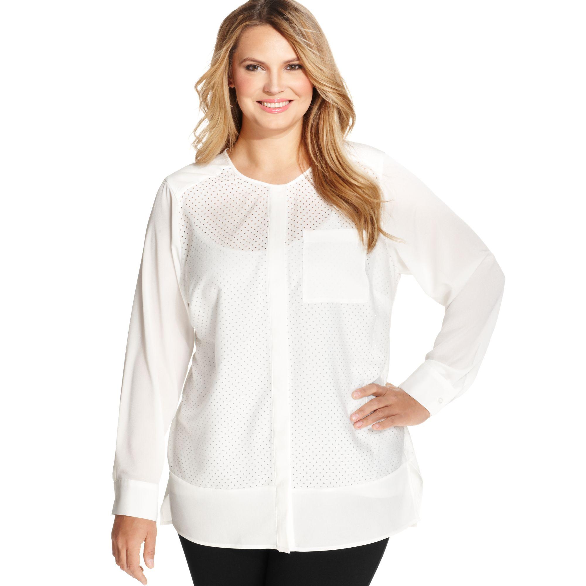 5d111ddc2ae6f Lyst - Calvin Klein Plus Size Longsleeve Mesh Blouse in White