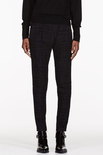 Damir Doma Black Leather_trimmed Front Fold Trousers - Lyst