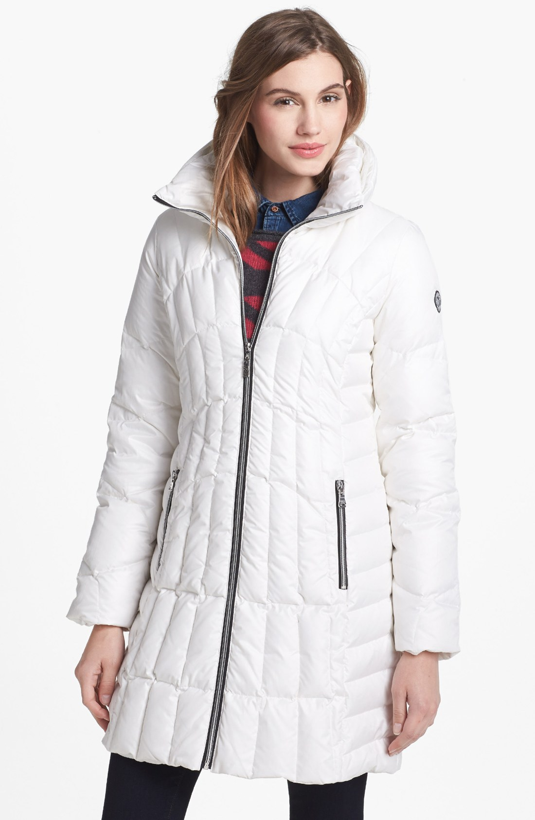 Guess Quilted Scuba Coat In White Cream Lyst