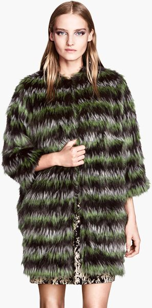 H&M Fake Fur Coat - Lyst