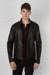 John Varvatos Slim Fit Zip Front Leather Jacket - Lyst