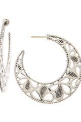 Lagos Carved Caviar Beaded Hoop Earrings - Lyst