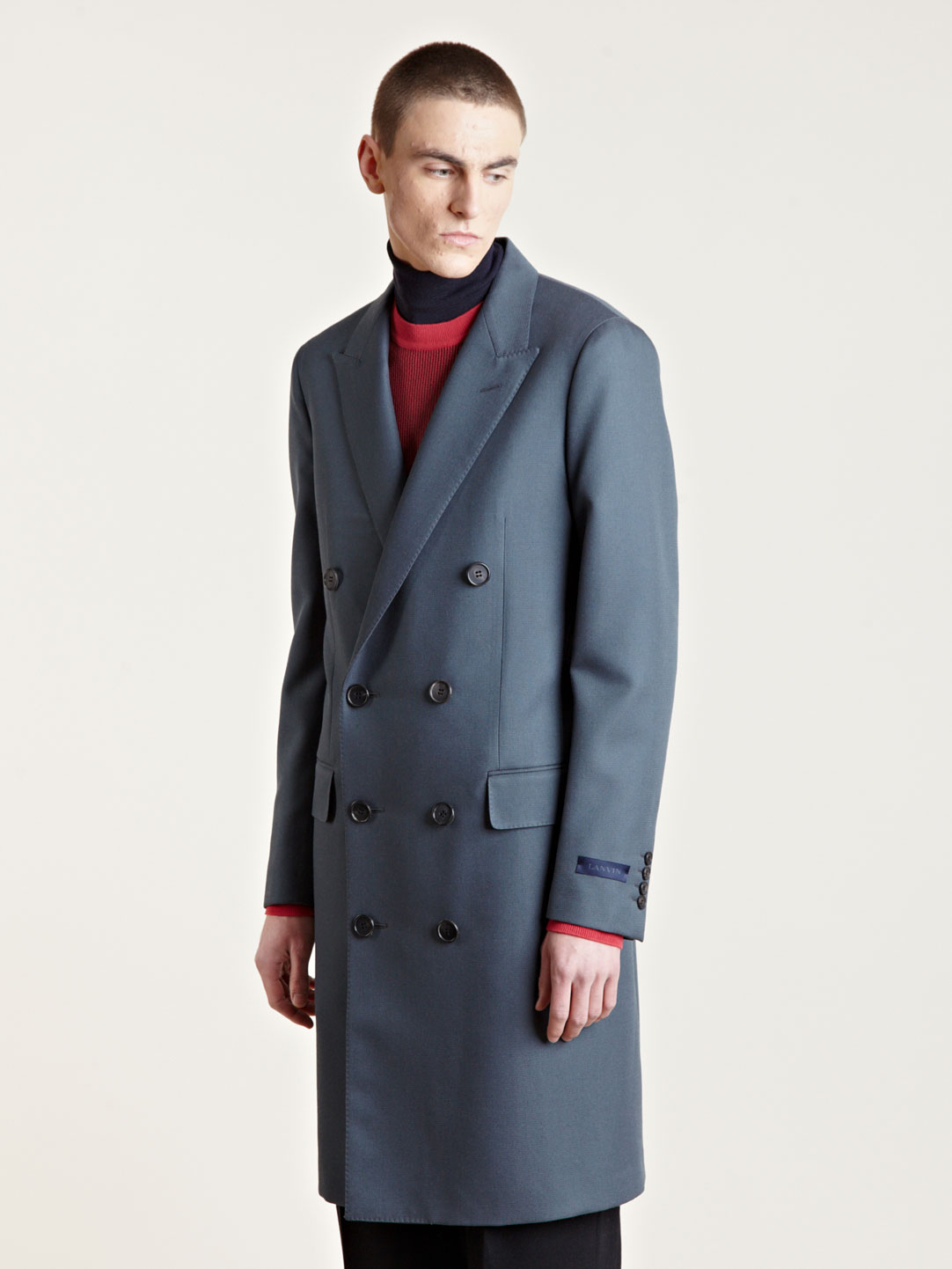 Lanvin Mens Double Breasted Coat in Blue for Men | Lyst