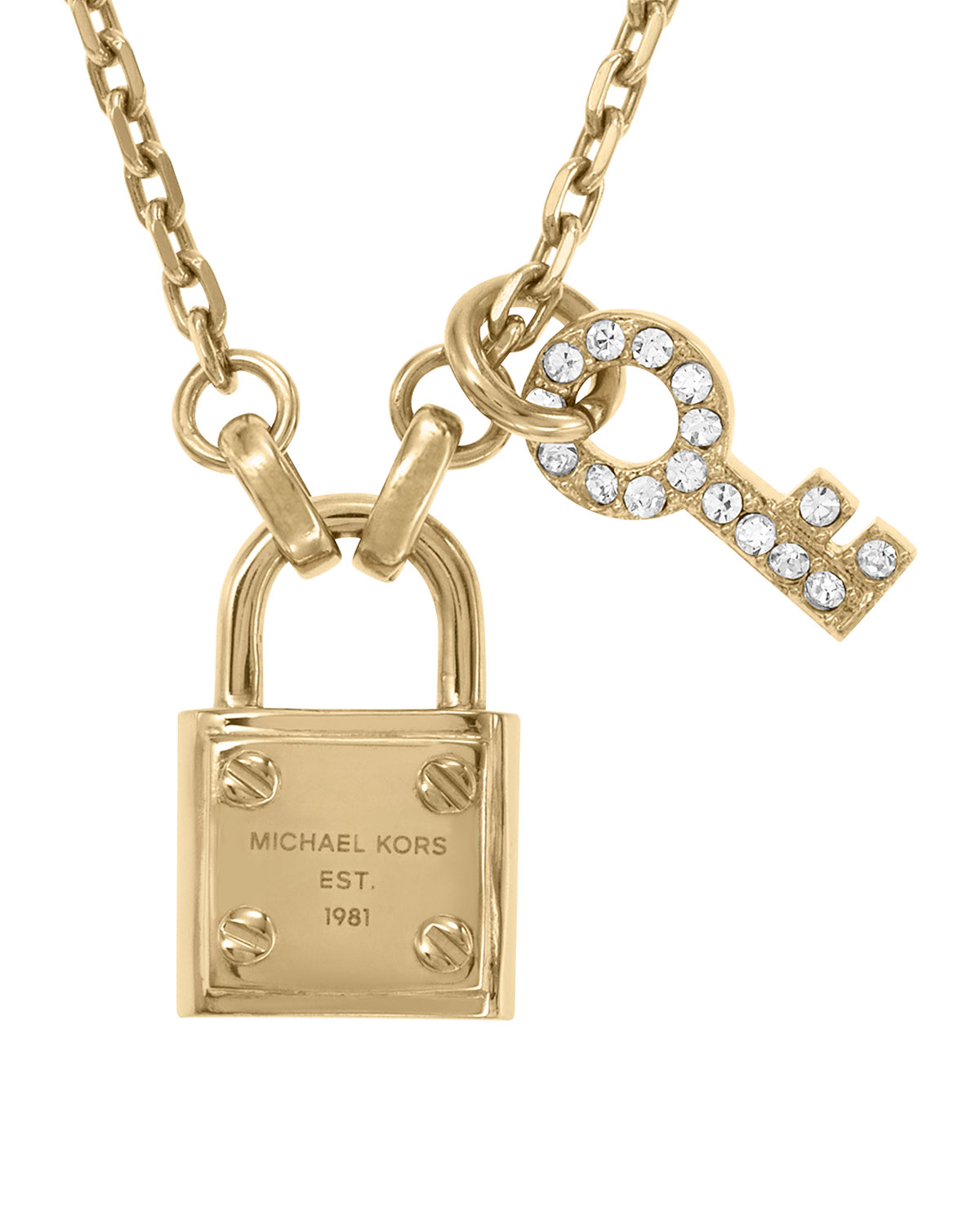 8e5d59909ae61 Lyst - Michael Kors Lock Key Pendant Necklace Golden in Metallic