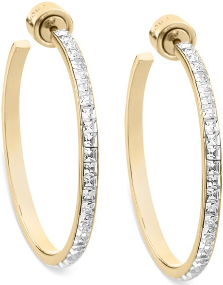 michael hoop earrings michael kors goldtone swarovski elements hoop earrings in 5686