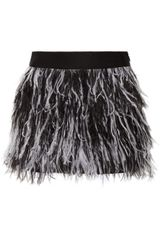 Milly Feathertrimmed Silk Mini Skirt - Lyst