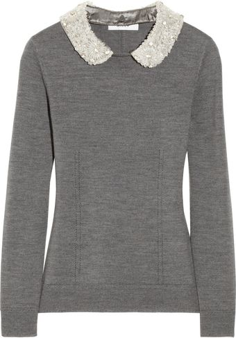 Milly Embellishedcollar Merino Wool Sweater - Lyst