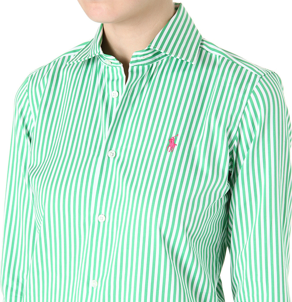 Ralph lauren Nadine Striped Shirt in Green | Lyst