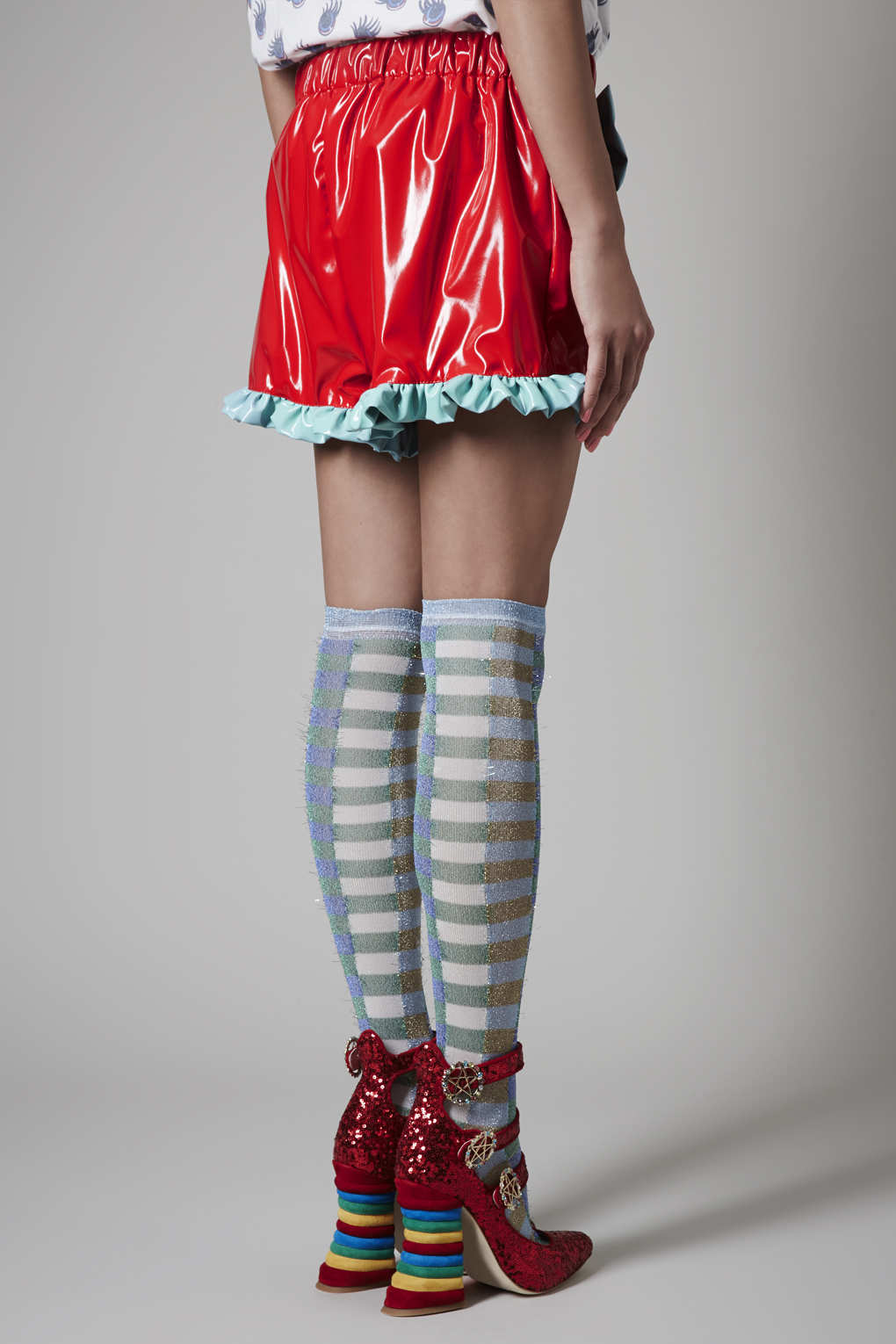 Lyst Topshop Red Pvc Frill Shorts By Meadham Kirchhoff