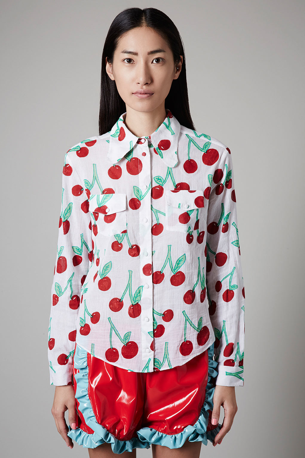 Lyst Topshop Cherry Print Shirt By Meadham Kirchhoff In